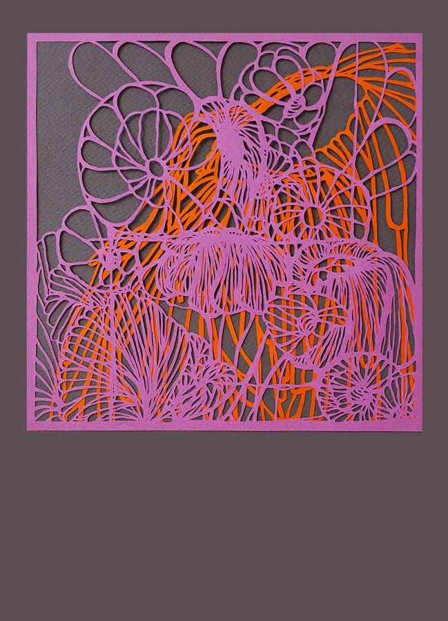 papercut art 16 x 16 cm flowers #3