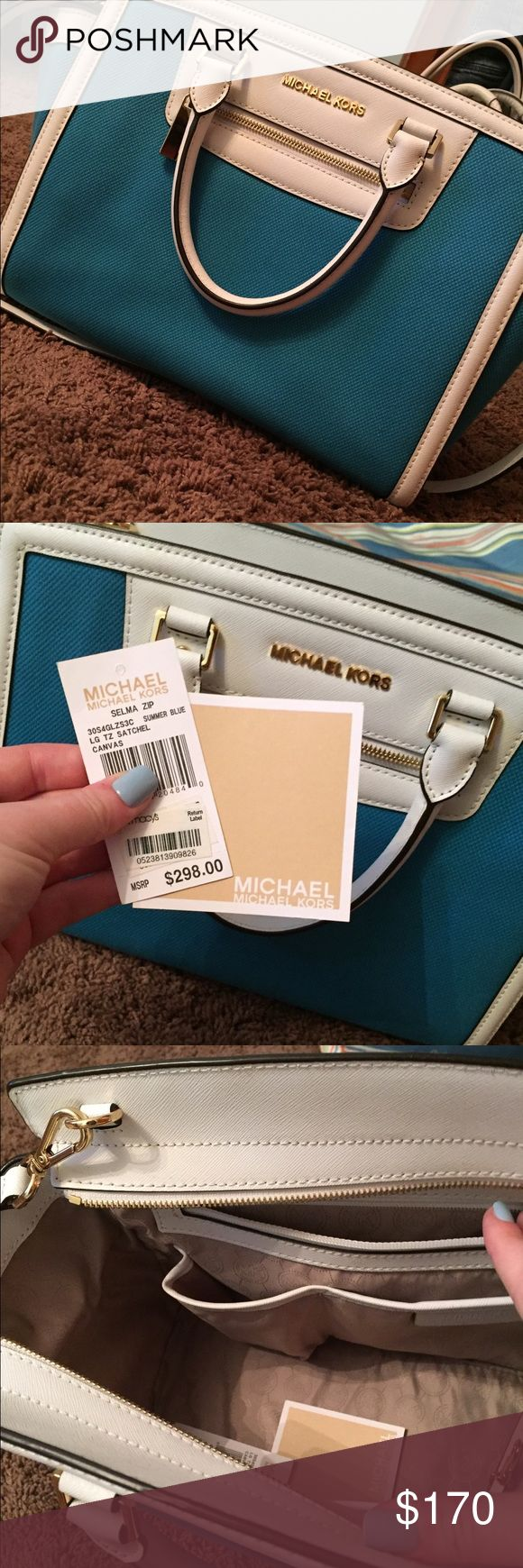 Michael Kors summer purse Beautiful blue and white purse. NEW WITH TAGS. perfect for summer! KORS Michael Kors Bags Shoulder Bags