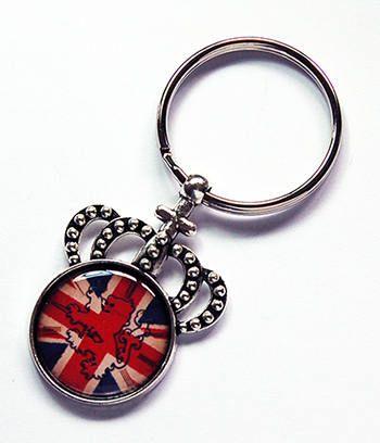 Union Jack keychain Crown Keyring stocking stuffer gift