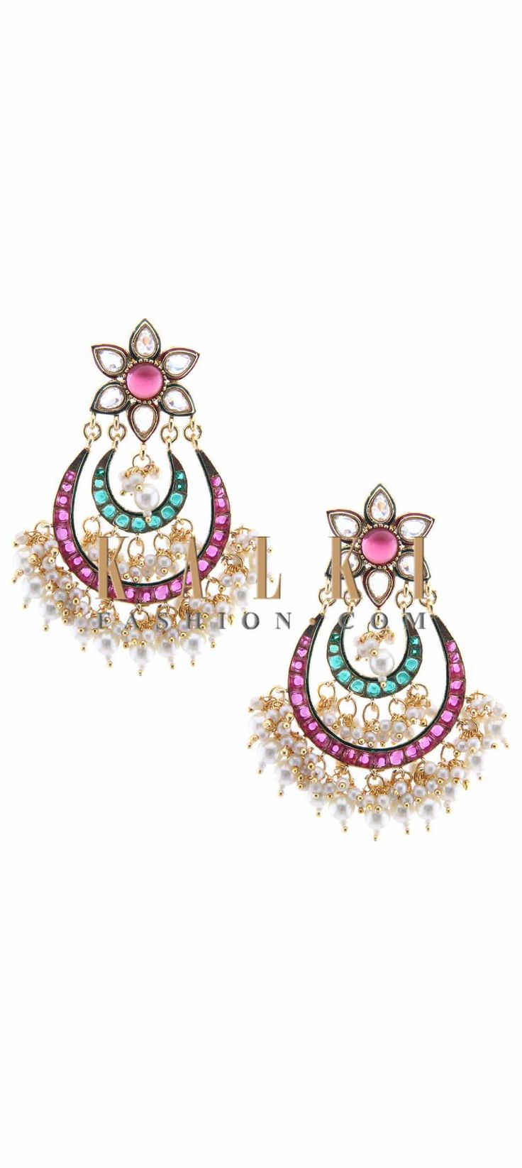 Buy Online from the link below. We ship worldwide (Free Shipping over US$100) Price-$49 Click Anywhere to Tag http://www.kalkifashion.com/floral-motif-earring-with-pearl-dangler-only-on-kalki.html