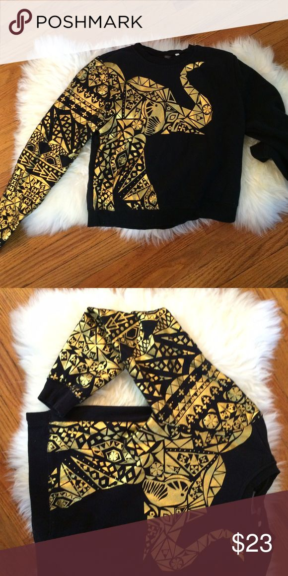 LA Hearts Aztec Elephant Sweater LA Hearts black and gold elephant sweater with Aztec pattern. Willing to negotiate price! LA Hearts Sweaters Crew & Scoop Necks