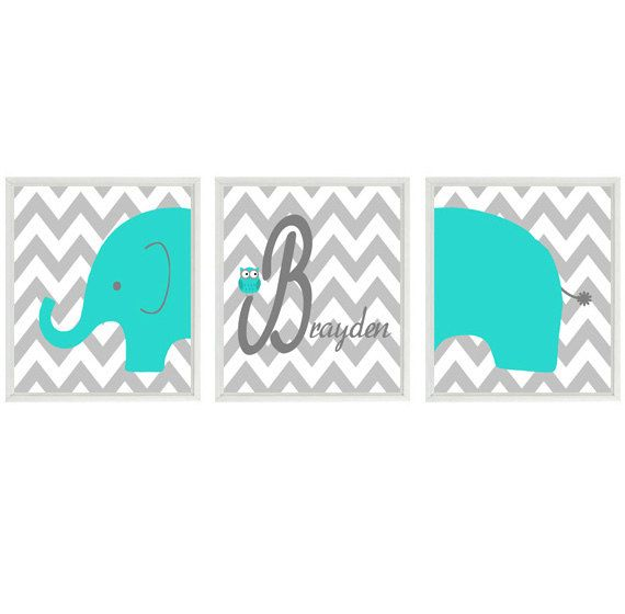 Elephant Nursery Wall Art Print - Owl Turquoise Gray Decor - Name Personalize Baby Boy Room - Wall Art Home Decor 3 - 8x10 Prints make a yellow elephant sign for niki