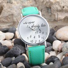 """Feitong in nieuwe"""" who cares"""" faux leer van pu ronde wijzerplaat horloge quartz analoge horloges mode jurk voor vrouwen gratis verzending f12(China (Mainland))"""