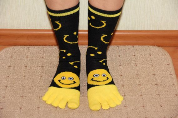Women's socks with toes socks with a smile funny by ShiningBead