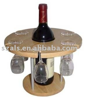 circular wooden disk with a hole in the middle to fit wine bottle into with glas… – Wine Racks