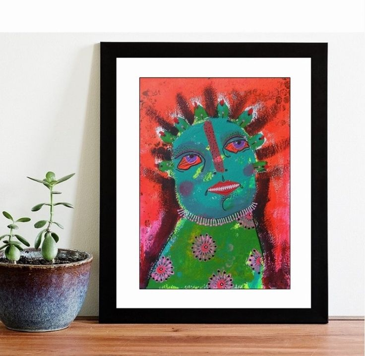 Bright Outsider Folk Art Painting Wall Art Weird Portrait Face Green Man Orange Bold Colour Trippy Edgy Artwork by ArtBeatriceM on Etsy https://www.etsy.com/listing/178694889/bright-outsider-folk-art-painting-wall