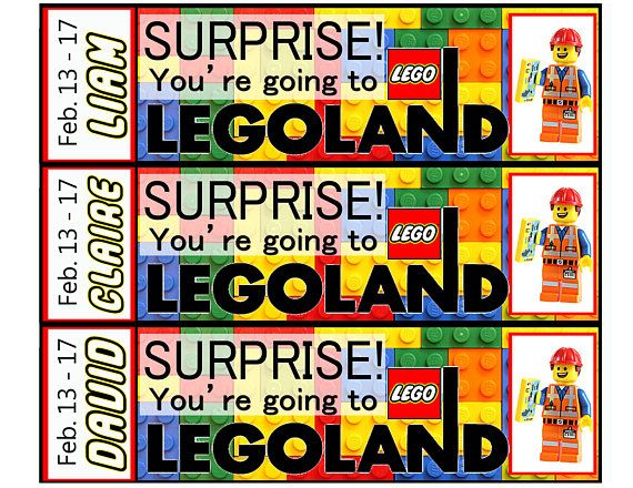 Surprise Youre Going To Legoland Make Someones Day Extra Magical When You Surprise Them With A Trip Printable Tickets Surprise Trip Reveal Lego Printables