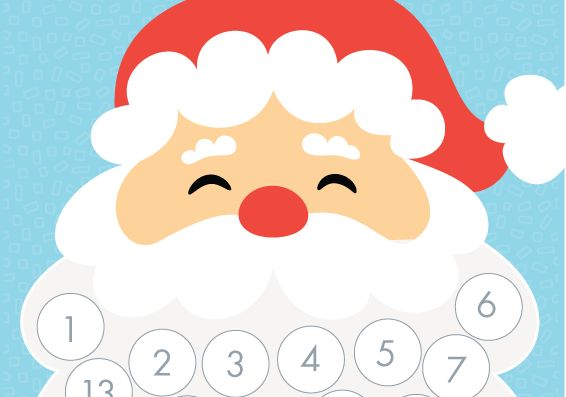 Santa Beard Advent Calendar- great for counting days past and days to Christmas