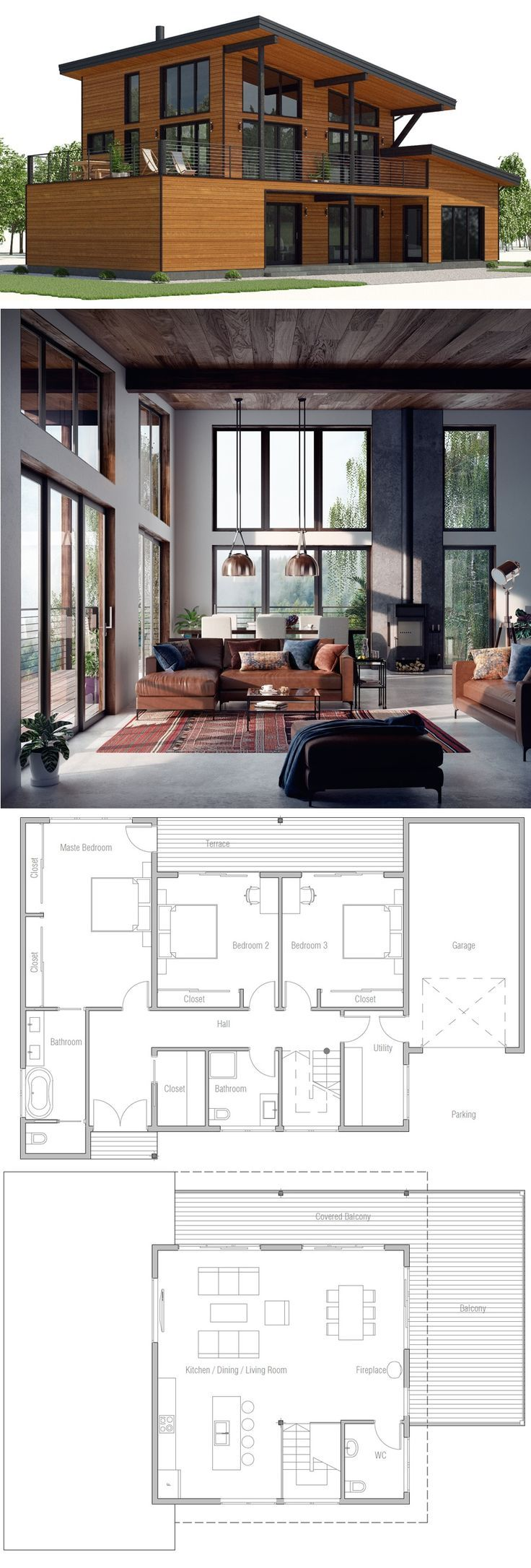 House Plan Built Into A Slope Hill So That Bottom Story Is Only Visible From The Back Affordable Modern Lightin House Layouts House Plans Architecture House
