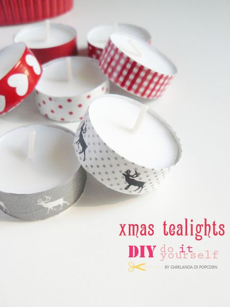DIY: Christmas ( or any holiday or occasion really since tape comes in all patterns and colors!) tealights