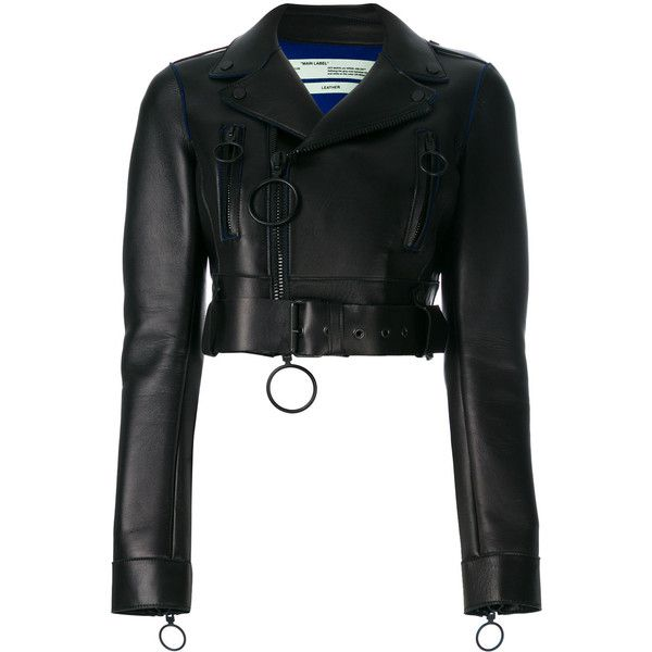 Off-White cropped biker jacket (150.455 RUB) via Polyvore featuring outerwear, jackets, black, leather biker jackets, cropped motorcycle jacket, long sleeve jacket, real leather jackets и genuine leather jackets