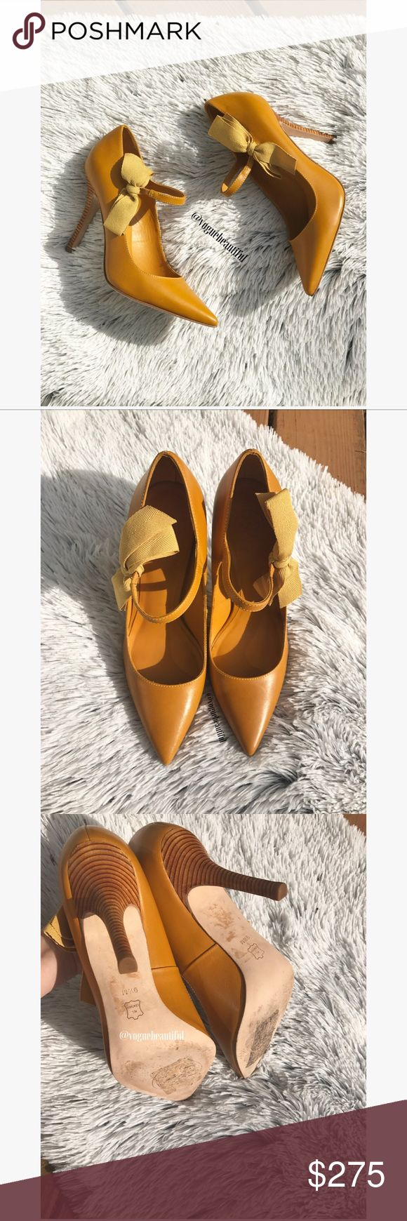 Tory Burch Beverly High Heels Absolutely stunning, 100% authentic Tory Burch Beverly heels in golden yellow (mustard color) • Perfect for fall and for upcoming holiday festivities • excellent condition with minimal wear • size 9.5 M • all leather • comes with original Tory Burch shoe box • heel height is 4.25 inches • You will love these! 😍😍😍✨✨✨✨ • 🚨NO TRADES🚨 Tory Burch Shoes Heels