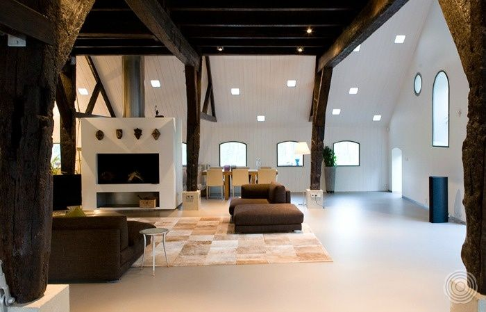 contrast jan bakers architects managed to bring old and new - white walls and dark sleek window frames