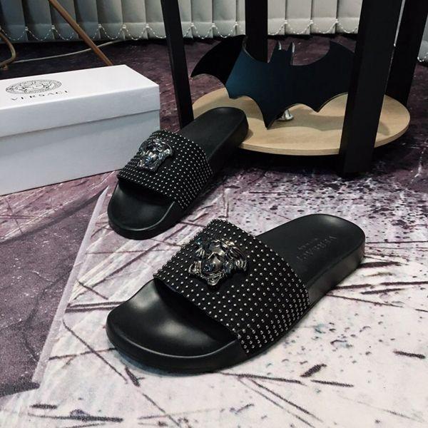 black versace sandals on sale   Versace