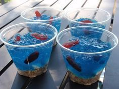 blue jello with fish gummies - Google Search