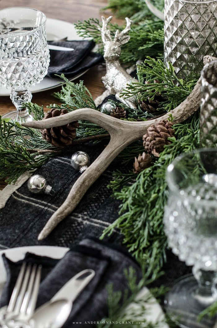 Rustic Woodland Christmas Tablescape Natural Christmas Decor Woodland Christmas Christmas Dining Table