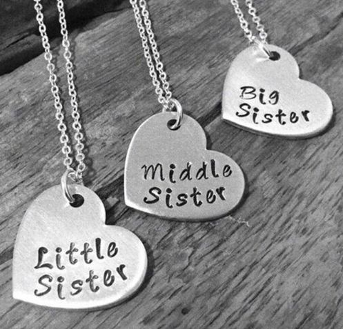 "Little Sister Middle Sister Big Sister"" Necklace Set Of 3"
