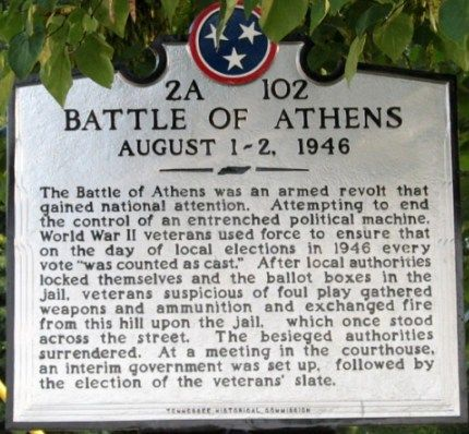 The Battle of Athens, TN, 1946; a well regulated militia of WWII veterans exercised their 2nd amendment rights and overthrew their tyrannical and corrupt county government in Tennessee that was attempting to defraud voters.