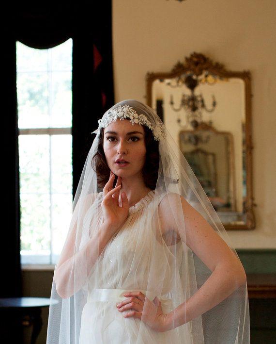 Juliet Cap Veil with Beaded Floral lace 1930s veil by Agnes Hart