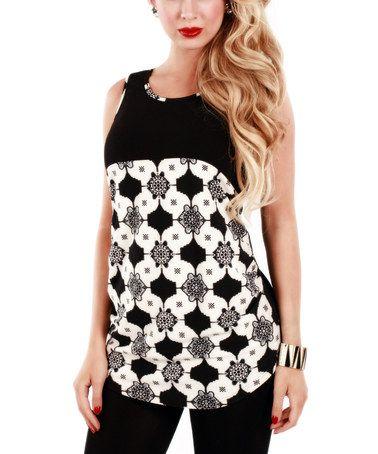 Look at this #zulilyfind! Black & White Geometric Tunic #zulilyfinds