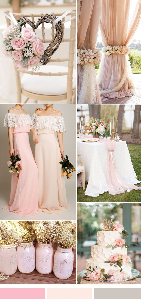 bohemian lace and chiffon bridesmaid dresses in rose and pink for fall wedding trends 2015