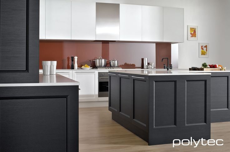 polytec THERMOLAMINATED Branxton doors in Black Natura and White Natura and Manchester doors in White Natura