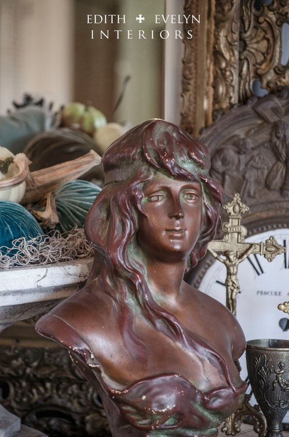 Vintage French Bust Atala Large Size Bronze by edithandevelyn