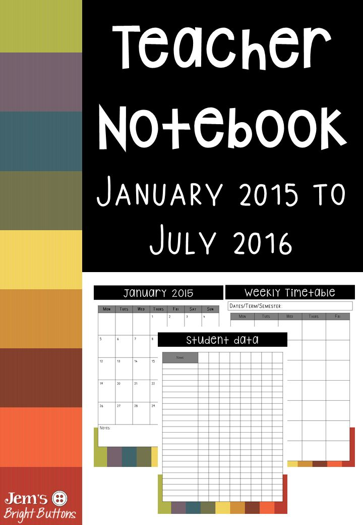 A printable teacher planner designed by a teacher with lots of different pages and a notebook section for meetings!