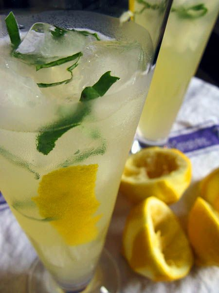 Sweet Basil Lemonade by thekitchn as adapted from Gourmet: Nonalcoholic, but yes would taste pretty good with vodka. #Basil_Lemonade #Lemonade #Beverages #thekitchn #Gourmet