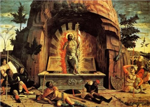 The Resurrection, right hand predella panel from the Altarpiece of St. Zeno of Verona - Andrea Mantegna