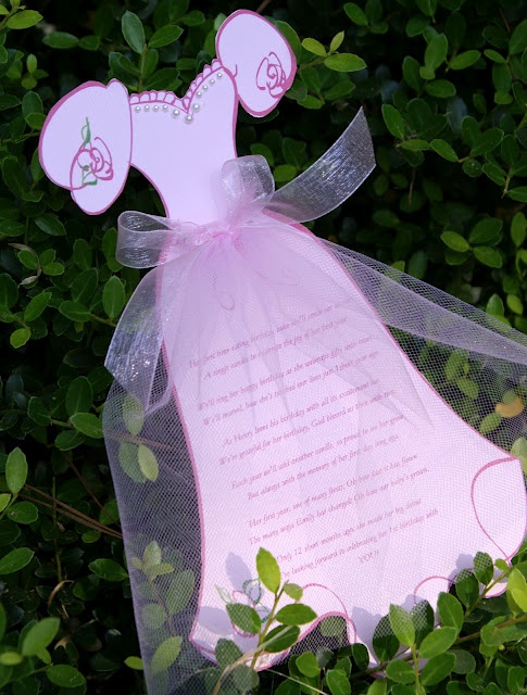 Princess Invitation with tulle and pearl beading ~ cute idea