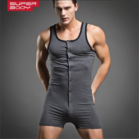Summer Pajamas for men Bodysuit One-piece vest pajamas 90% cotton Mens sexy pajamas