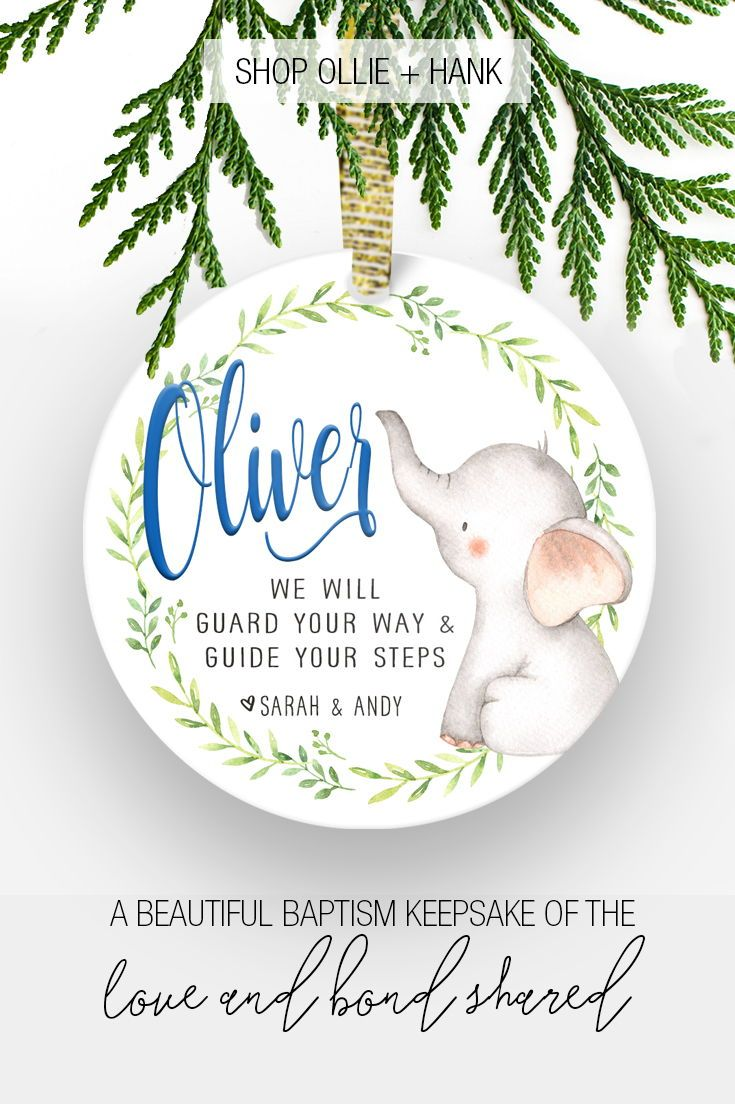 Gift For Godchild | Elephant Baptism Ornament | | Godparent Gifts ...