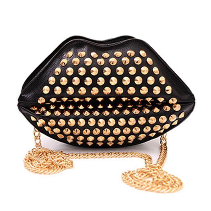 Black and Gold Crossbody Studded Lip Bag