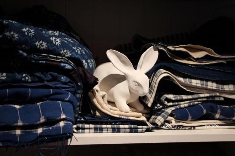 Navy and white textiles
