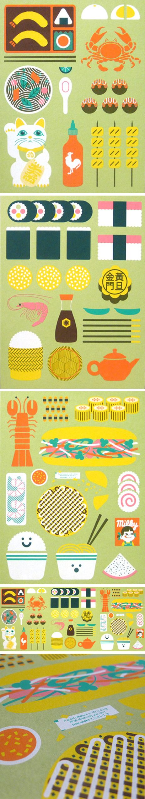 Asian food illustrations by Mike Davis