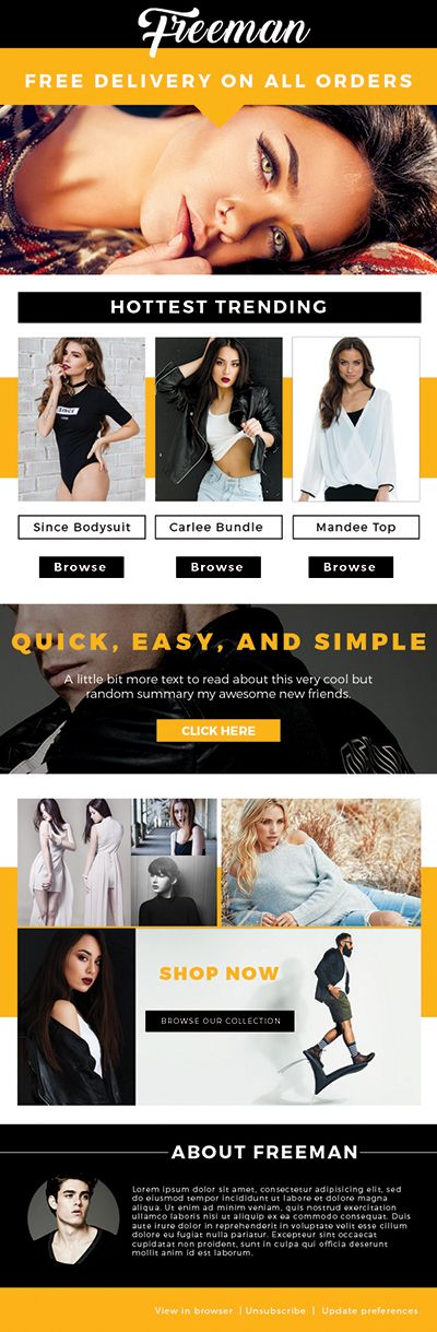 This is a fashion themed email #newsletter template in a layered #psd file ready to be coded. This template has a high contrast of black, and orange. It is a great email template for fashion #bloggers, #fashion eCommerce stores, online shops, or any fashion related field. All of the images are included in this template, and are free to use!