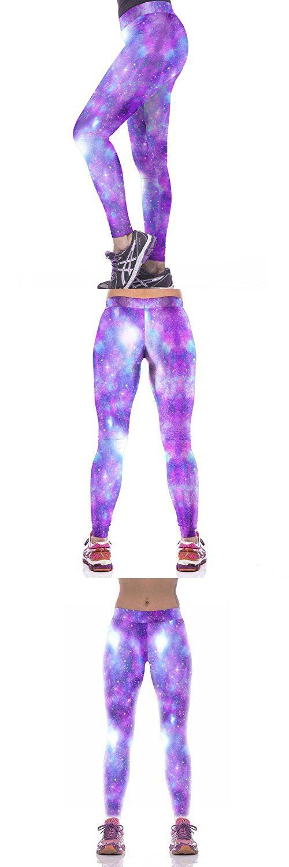 Slimming Girl Purple Galaxy Print High Waist Tight Fitness Skinny Sport Yoga Leggings Medium
