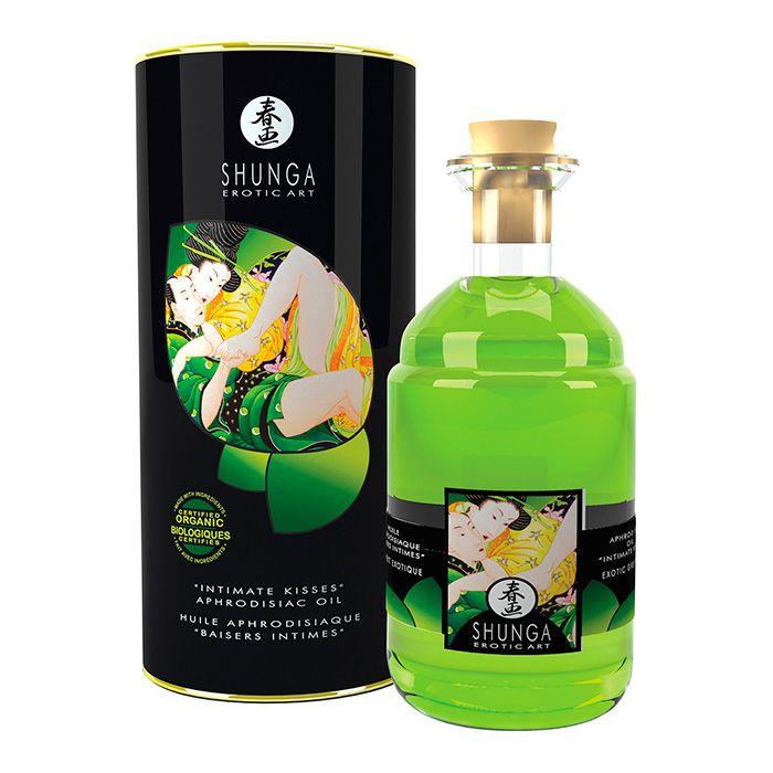 SHUNGA APHR OIL GREEN TEA ORGANIC Aceite de masaje afrodisíaco con sabor a Té Verde. Especialmente creado para potenciar las sensaciones en las zonas íntimas del hombre y la mujer. Precio: 22€.