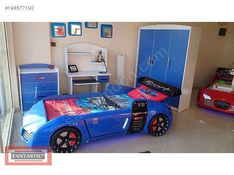 Mavi Fantastic Arabalı Yatak Lüx Cocuk Odası-Ücretsiz Nakliye