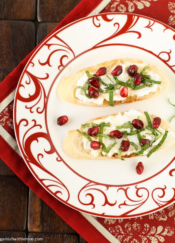 Pomegranate Crostini with Ricotta and Mint