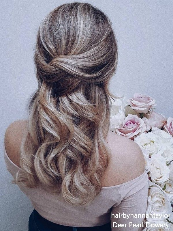 Half Up Half Down Hair Easy This Is Amazing When I See All These Cute Hair Styles It Wedding Hairstyles For Medium Hair Medium Length Hair Styles Hair Styles