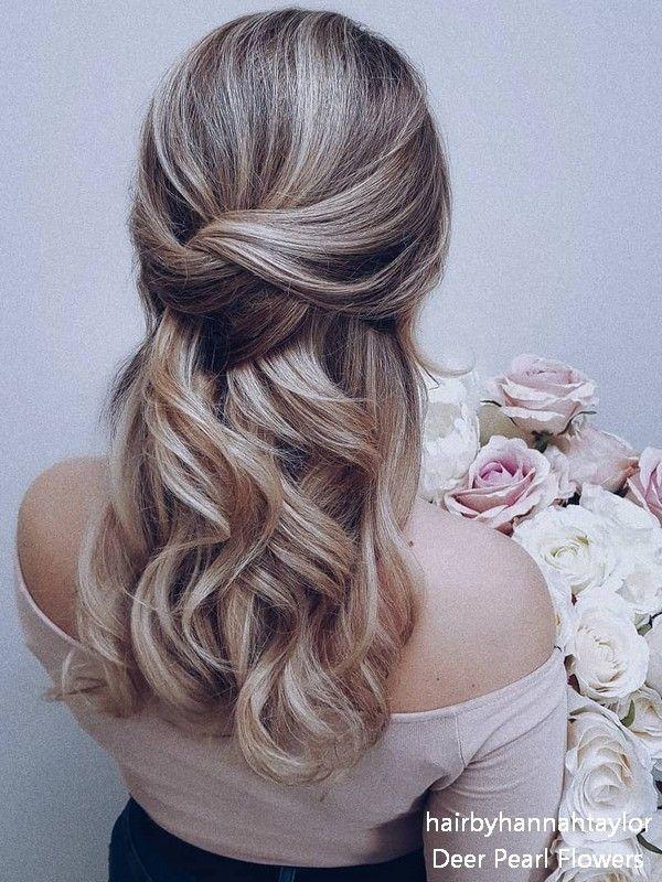 Long Half Up Half Down Wedding Hairstyle From Hairbyhannahtaylor Down Curly Hairstyles Half Up Hair Bridal Hair Inspiration