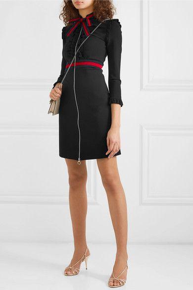 ee0cf371e Gucci | Ruffled grosgrain-trimmed stretch-cady dress | NET-A-PORTER.COM