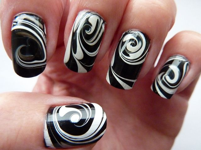Black & White Water Marble Swirl Nail Art