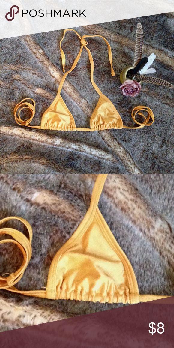 Itty bitty gold triangle bikini top. Teeny tiny bikini top. American Apparel Swim Bikinis