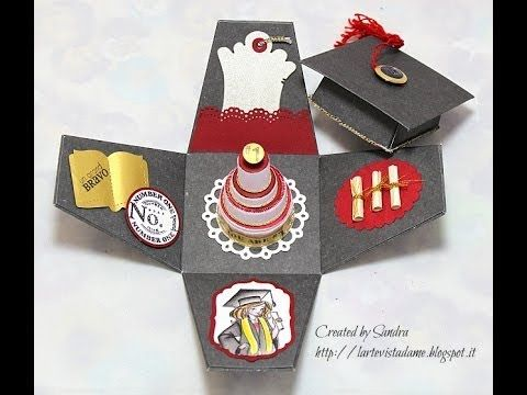 Explosion box laurea tutorial/ Graduation box - Come riutilizzare i tappi di plastica - YouTube