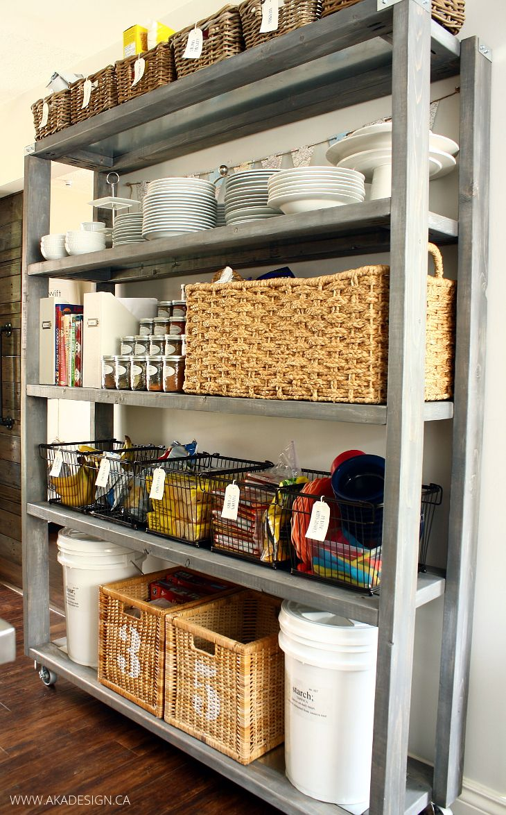 Rolling kitchen pantry shelves for Diy rolling pantry shelves