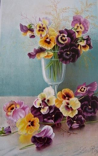 c1894 Antique Victorian PANSIES Print Le Roy Chromolithograph Half from victorianroseprints on Ruby Lane