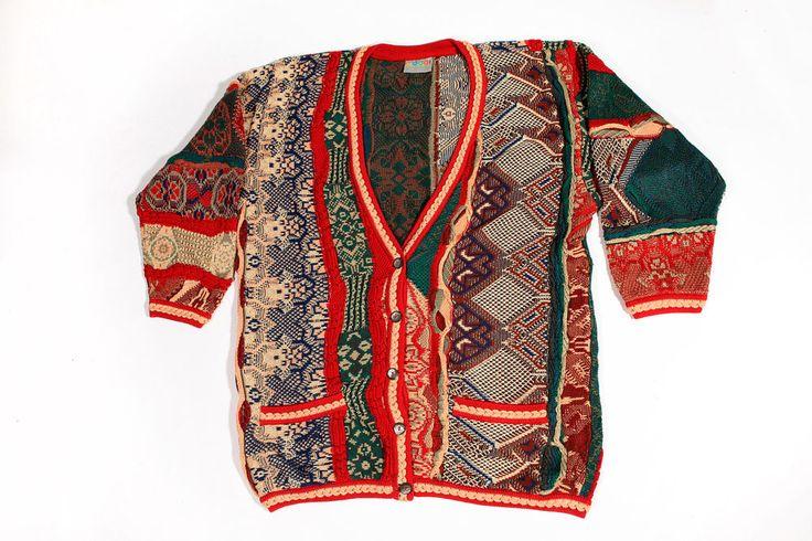 Vintage COOGI Australia Sweater 90s Biggie Australia Multi Color Cardigan Size M #COOGI #Cardigan